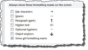 Word's Display Options; formatting marks
