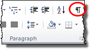 Word's Home tab; Show Formatting Marks Hi-lited